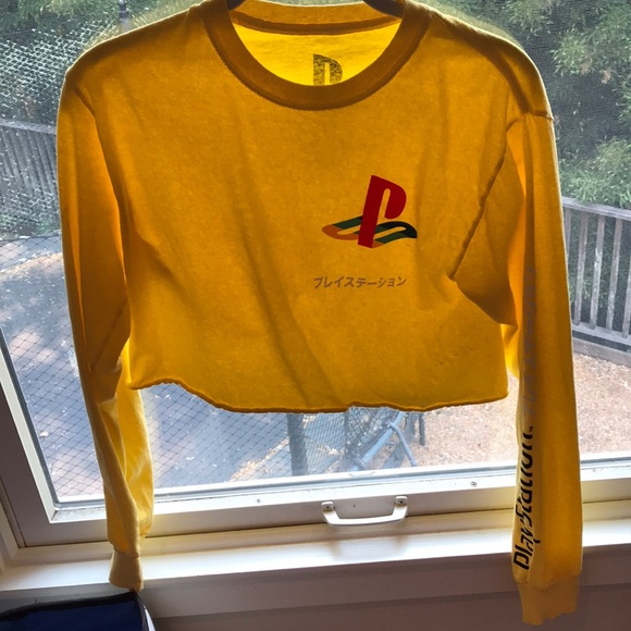 3535ac4954be2f Forever 21 Tops | Yellow Long Sleeve Cropped Playstation Shirt ...